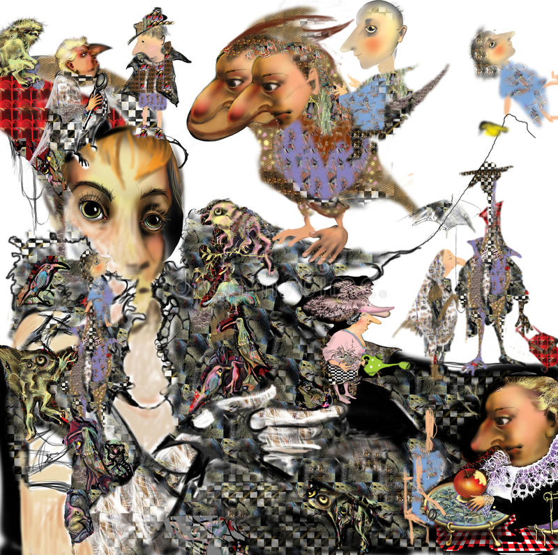 Download Woman Portrait With A Two-faced Bird Stock Illustration - Image: 37853132