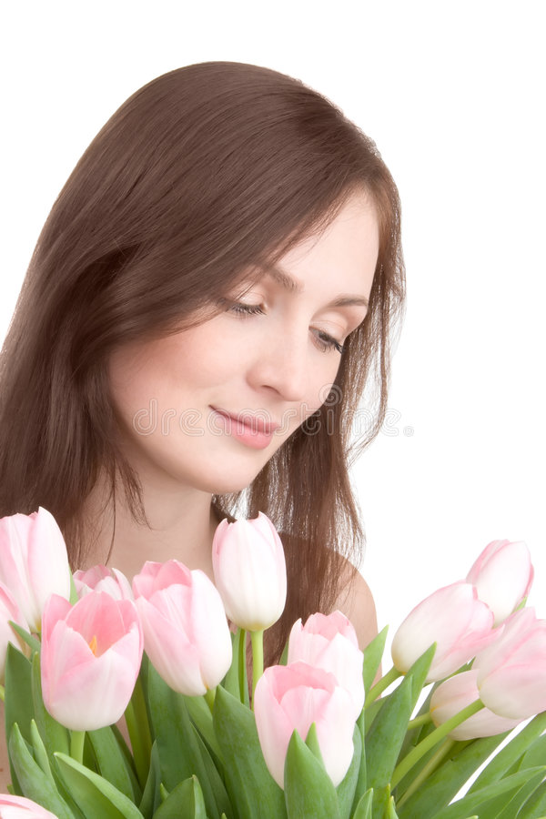 Free Woman Portrait With Bouquet Of Tulips Stock Photos - 2227493