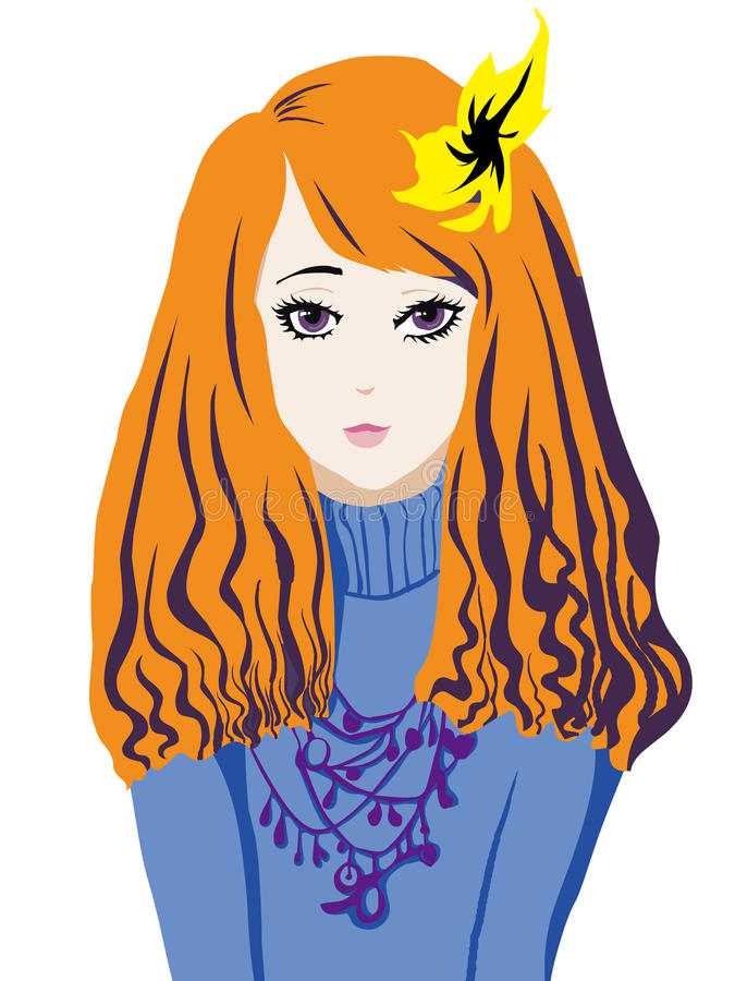 Download Woman Portrait With Yellow Flowers Stock Vector - Illustration: 19884916