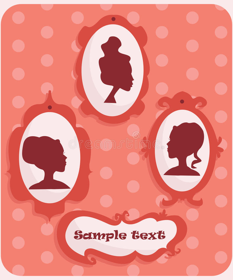 Download Woman portraits silhouette stock vector. Illustration of border - 13312268