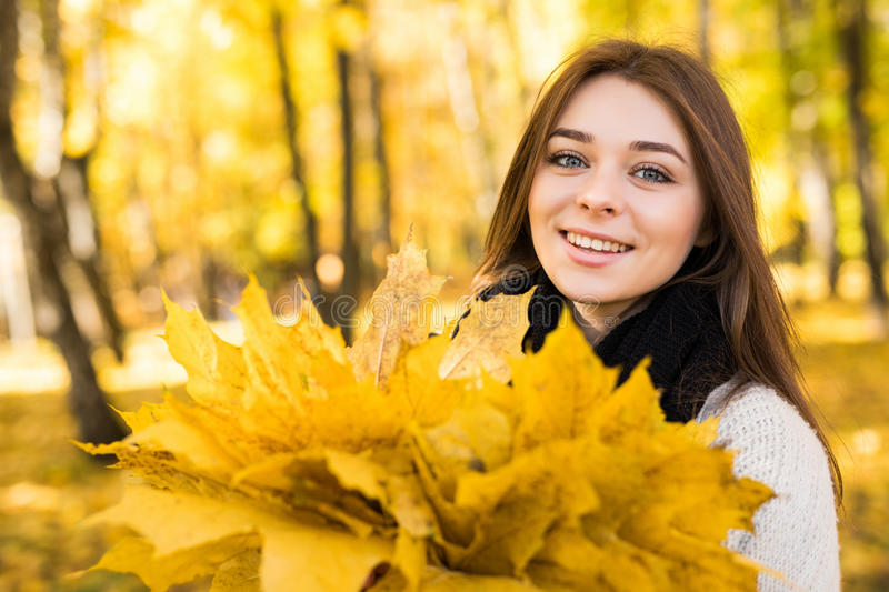 Woman portret in autumn. Forest stock image