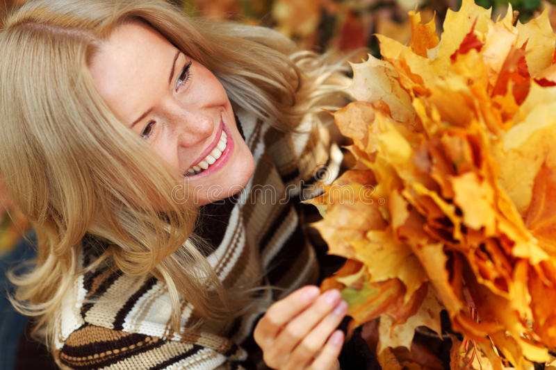 Download Woman Portret In Autumn Leaf Stock Photo - Image: 26237878