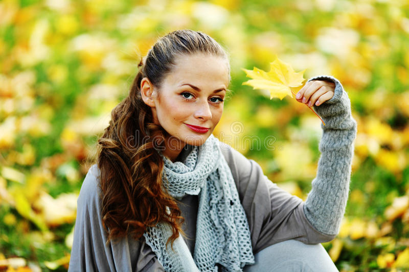 Download Woman Portret In Autumn Leaf Stock Image - Image: 26238519