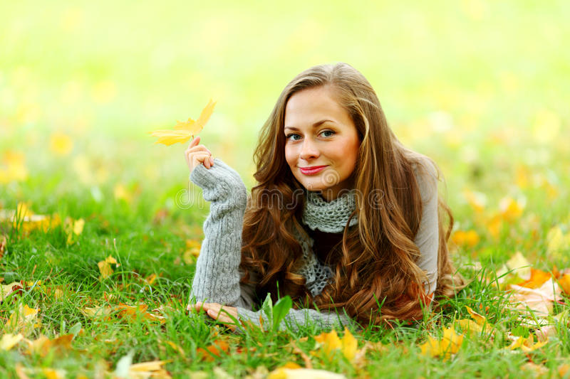 Download Woman Portret In Autumn Leaf Stock Photos - Image: 26238553