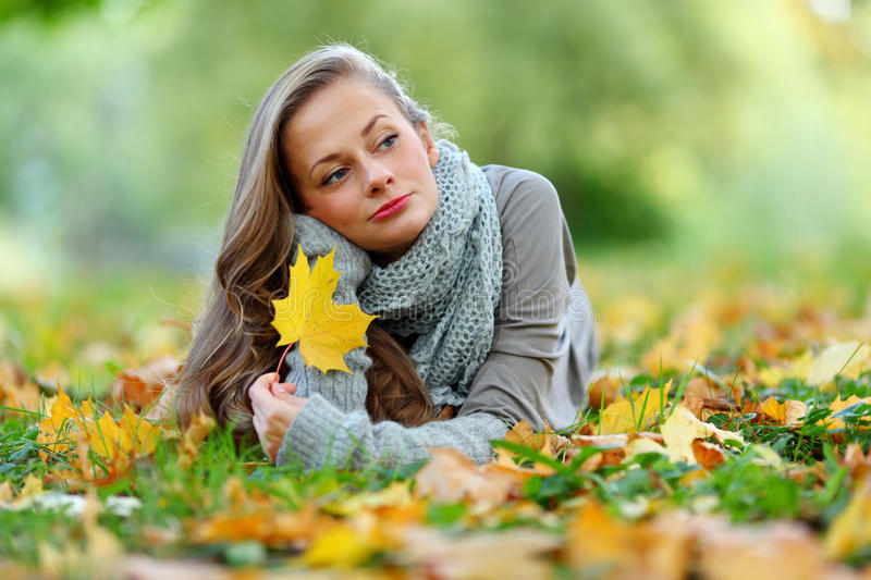Download Woman Portret In Autumn Leaf Stock Image - Image: 26238567