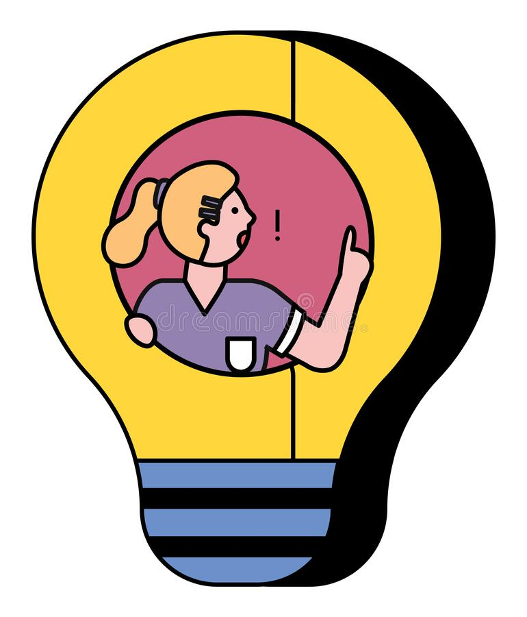 Woman Pose in Light Bulb and Think About Solution vector illustration