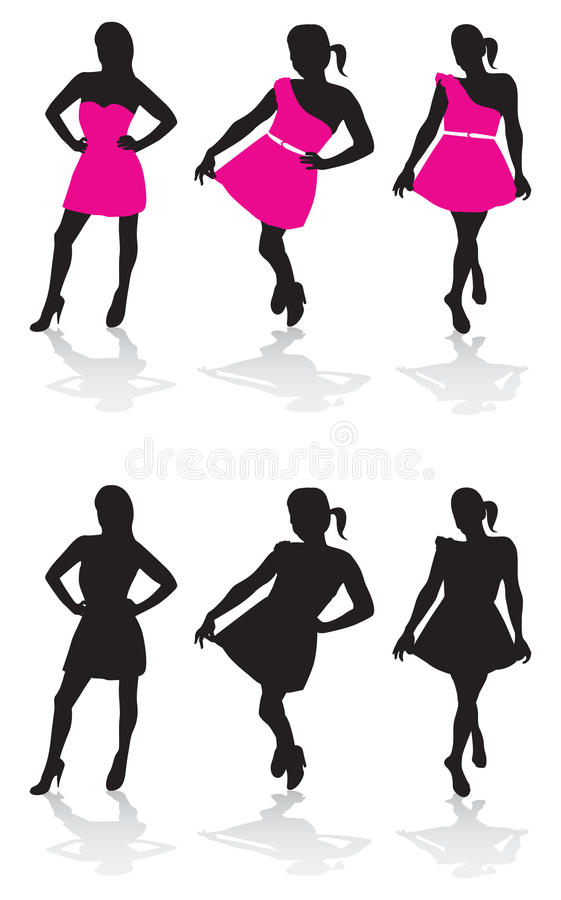 Woman posing. Silhouettes of woman in dresses posing stock illustration