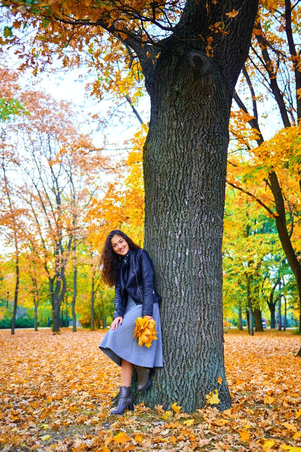 Woman posing with autumn leaves in city park, outdoor portrait stock images