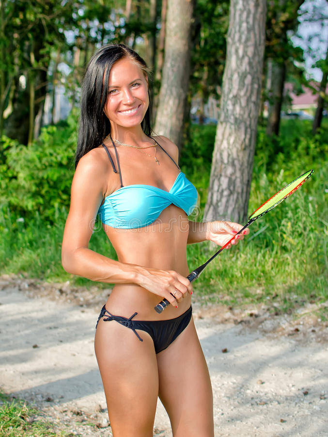 Download Woman Posing With Badminton Stock Photo - Image: 25993974