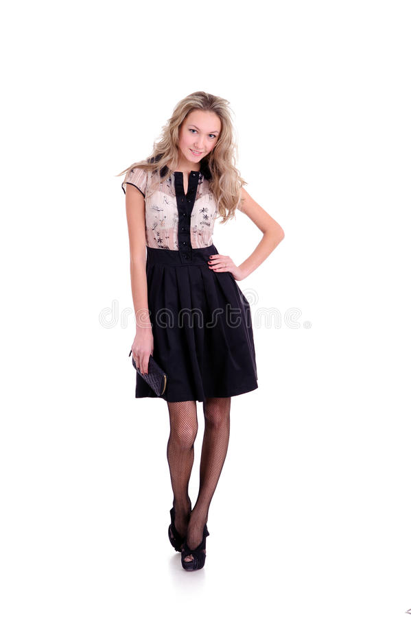 Woman Posing In Dress With Skirt Royalty Free Stock Photo
