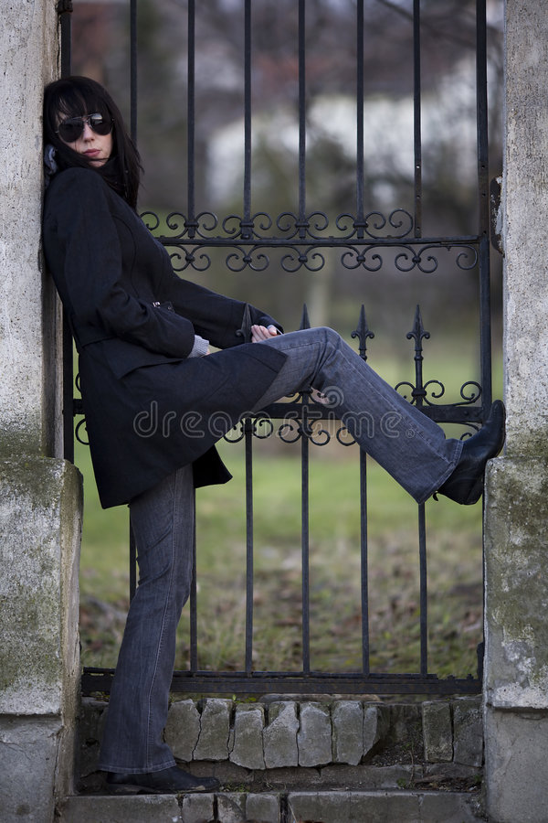Download Woman Posing On Entrance Royalty Free Stock Photography - Image: 7526657