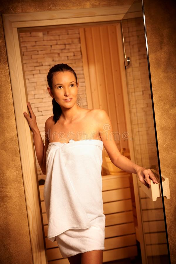 Download Woman Posing At Entrance Of Sauna Royalty Free Stock Images - Image: 18240269