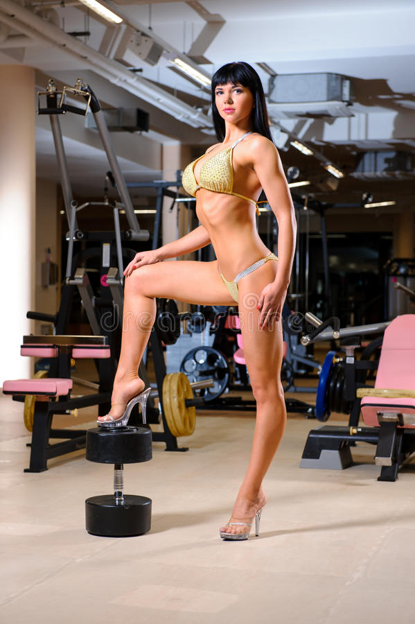 Woman posing in the fitness club royalty free stock photo