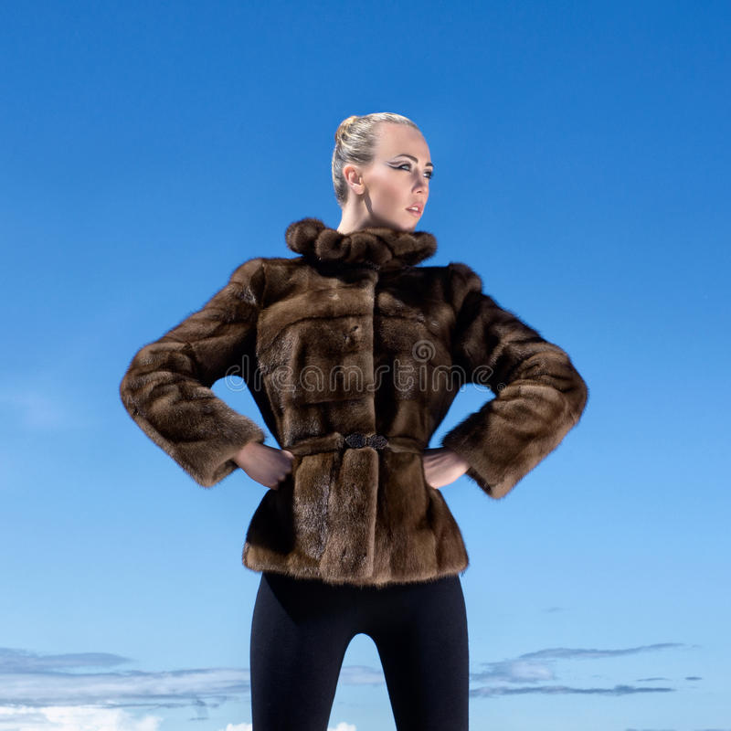 Download A Woman Posing In A Fur Jacket On A Sky Background Stock Photo - Image: 26907102