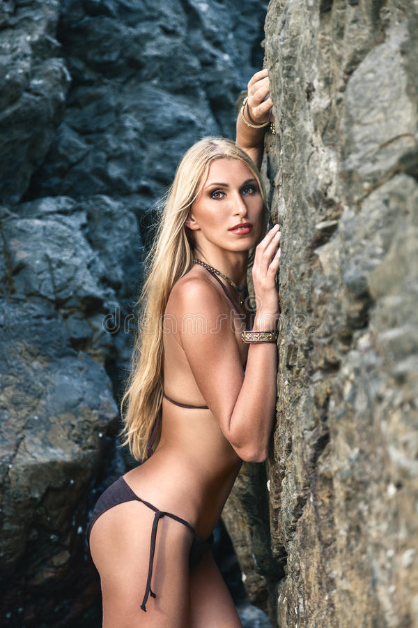 Download Woman posing near cliffs stock photo. Image of female - 37651950