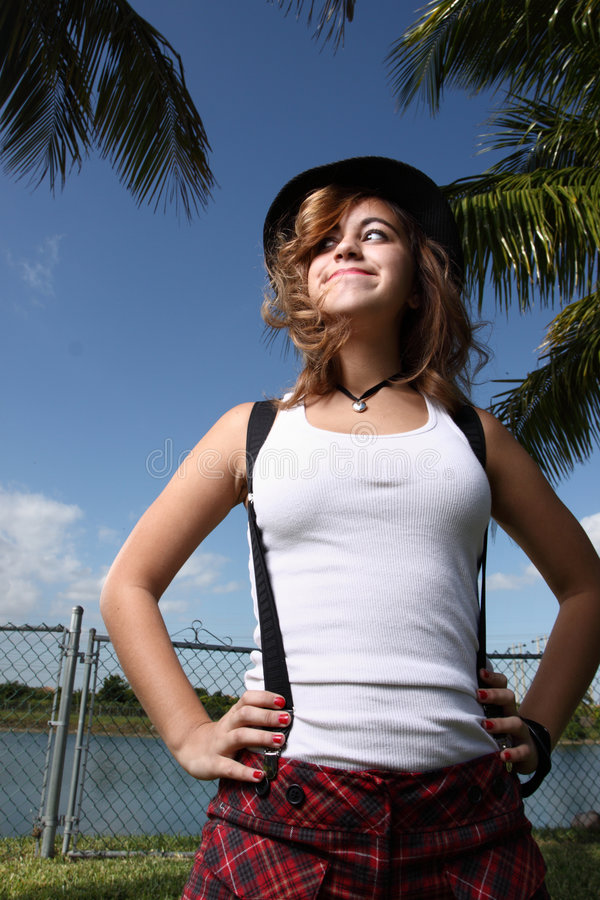 Download Woman posing outside stock image. Image of pleased, outdoors - 7437349