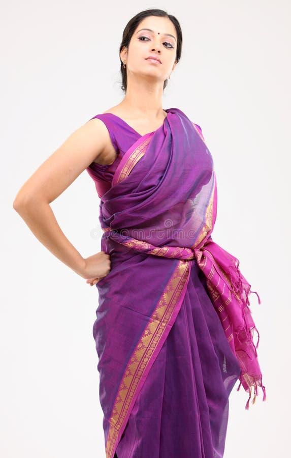 Woman posing with pink sari royalty free stock photos
