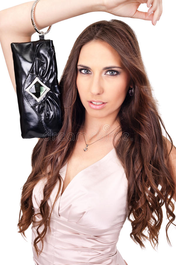 Woman Posing With Purse Stock Image