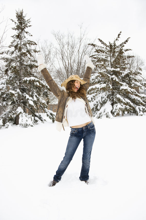 Download Woman Posing In Snow. Stock Photo - Image: 3182190