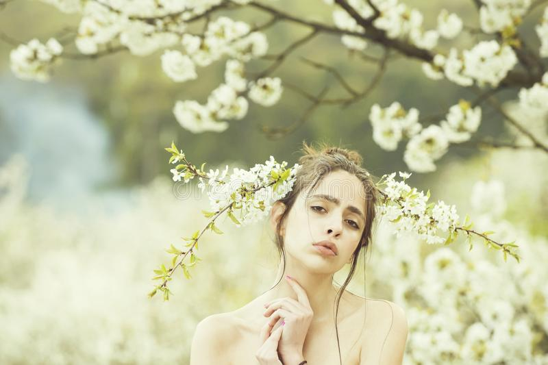 Woman posing with white, blossoming flowers in hair. Woman or cute girl posing with white, blossoming flowers in hair and naked shoulders in spring garden on royalty free stock photography