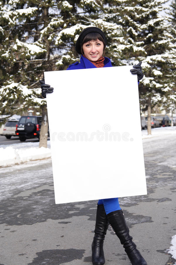 Woman With The Poster Stock Photos