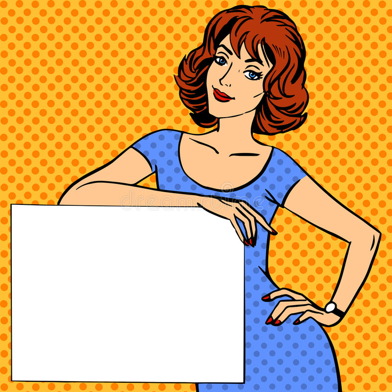 Woman with poster place for text Pop art vintage comic stock illustration