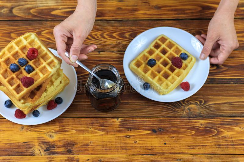 waffles maple syrup blueberries stock image  image of nutrition breakfast 17028227