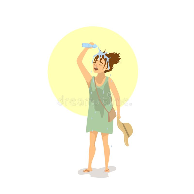 Woman pouring water over head, suffering from extreme heat wave royalty free illustration
