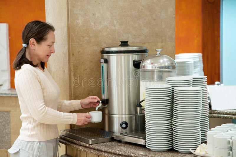 Download Woman pours  coffee stock image. Image of fresh, buffet - 22973047