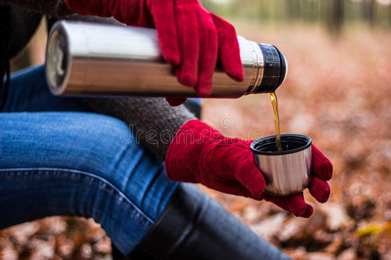 Woman pours tea from thermos. Female hands in red gloves pours tea or coffee from thermos to cup in autumn park or forest. Theme of hiking, leisure, vacation stock photography