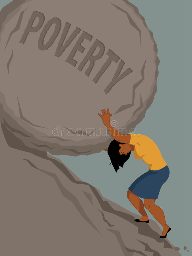 Woman in poverty. Woman pushing a rock with the word poverty written on it uphill, vector illustration, no transparencies, EPS 8 royalty free illustration