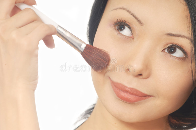 Download Woman and powder brush stock image. Image of applicator - 3518961