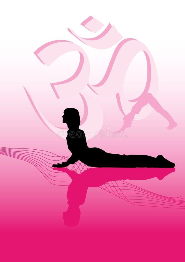 Woman practices yoga vector illustration