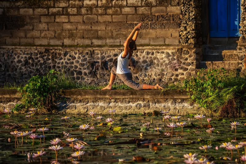 Woman practices yoga on a lake with lotus water lilies.  stock image