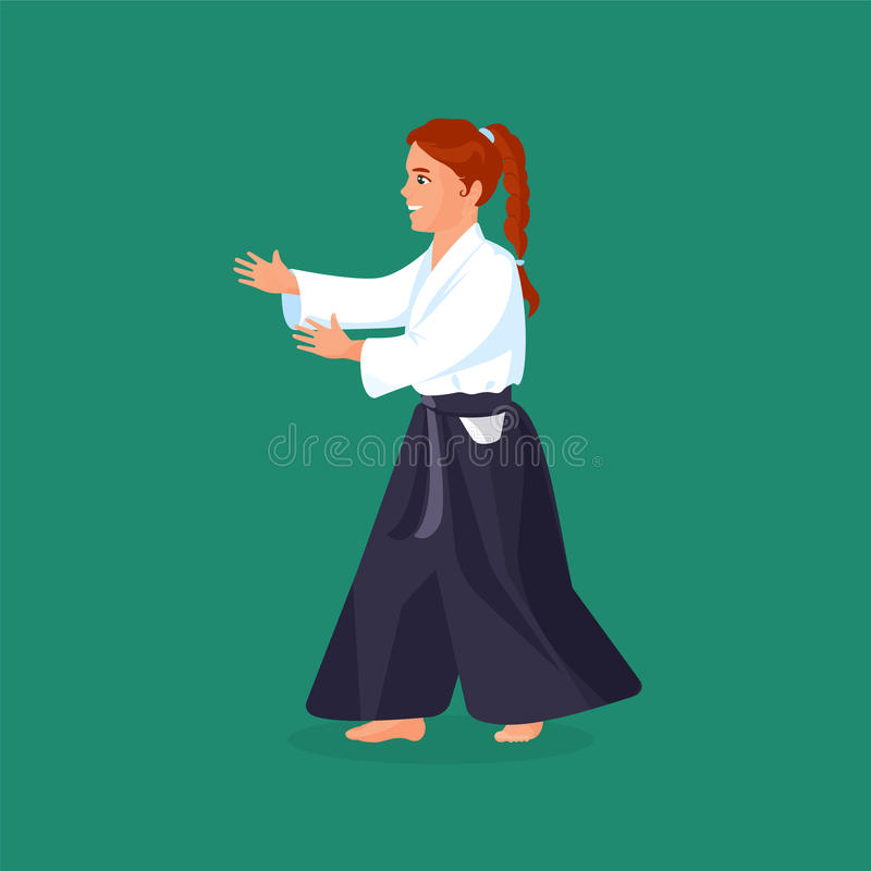 Woman is practicing her defending skills in uniform. Woman is practicing his defending skills in uniform, colorful vector flat illustration stock illustration