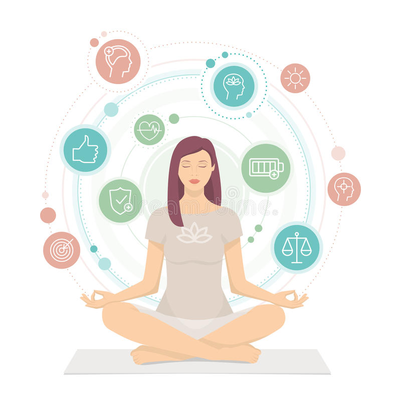 Woman practicing mindfulness meditation. She is sitting in the lotus position and she is surrounded by health and wellness concepts royalty free illustration