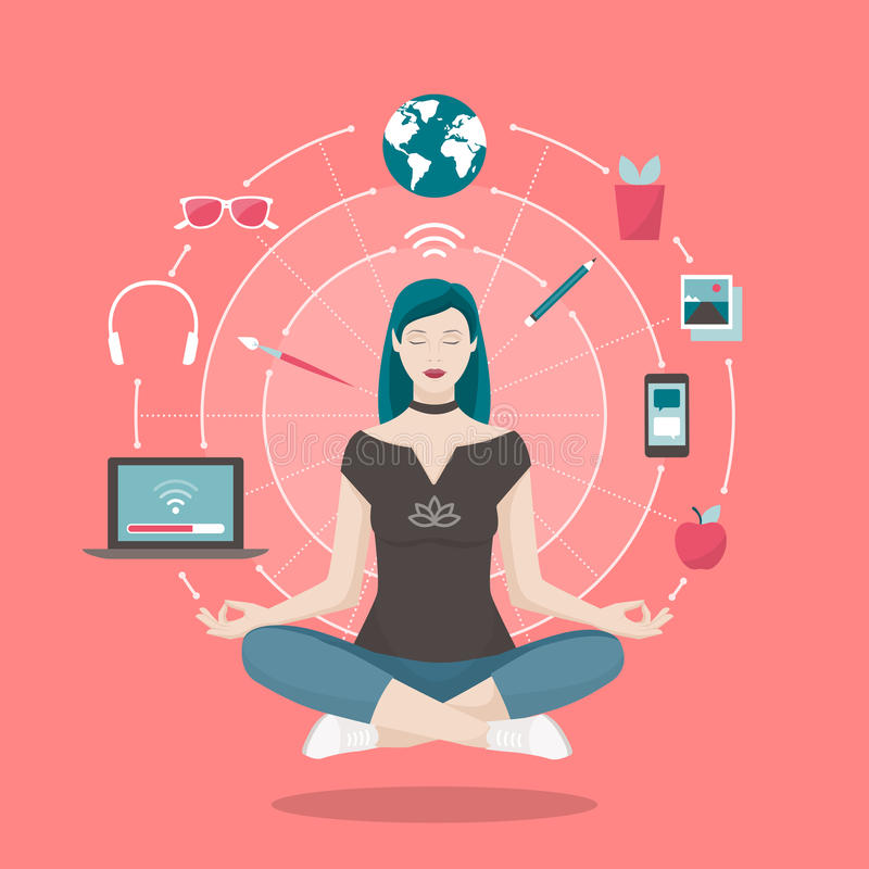Woman practicing mindfulness meditation. Young woman practicing mindfulness meditation, she is clearing her mind, releasing stress and expressing her creativity stock illustration