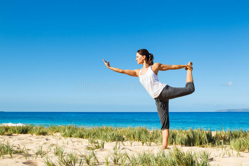 Download Woman Practicing Yoga stock photo. Image of beach, fresh - 24921932