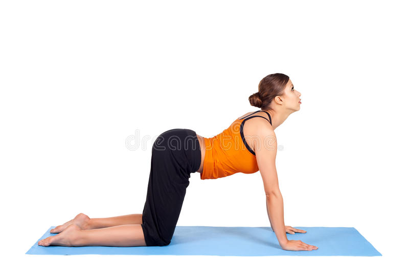Woman Practicing Yoga Asana stock images