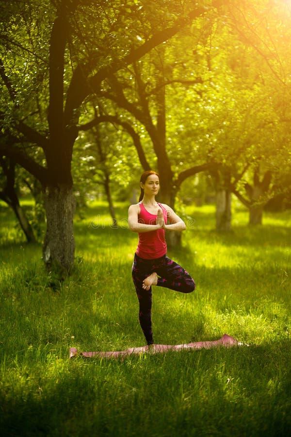 Woman practicing yoga balance asana. stock images