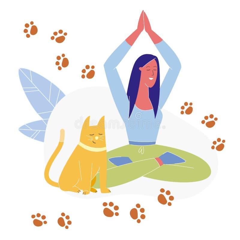 Woman Practicing Yoga Flat Vector Illustration vector illustration
