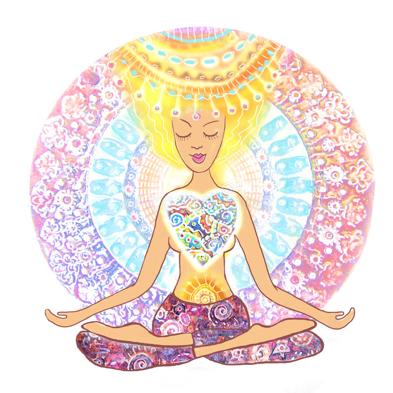 Woman practicing yoga. Hand drawn woman sitting in lotus pose of yoga on mandala background. stock image