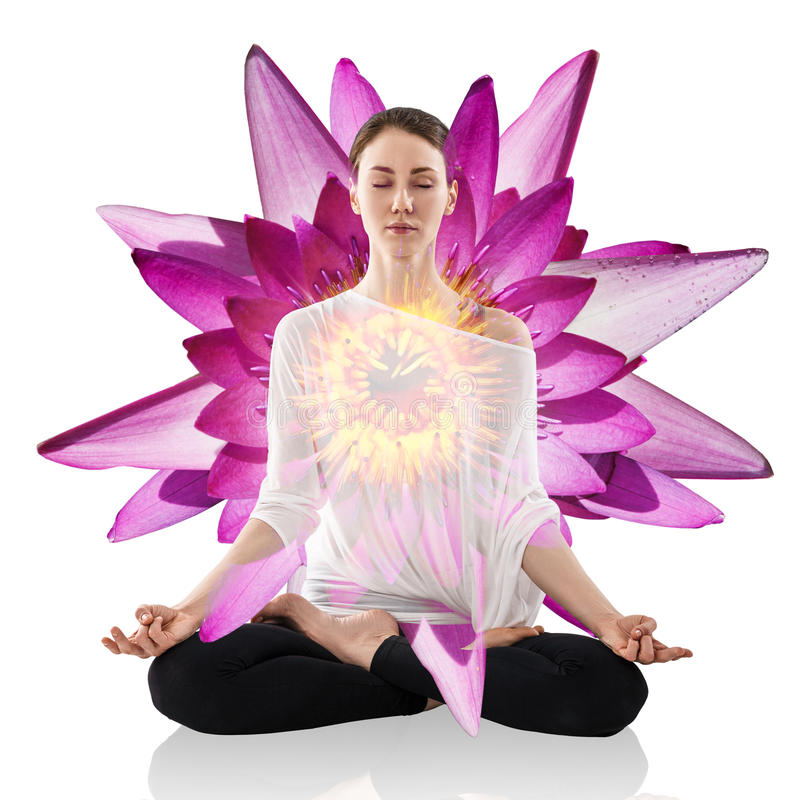 Woman practicing yoga in the lotus position. Young woman practicing yoga in the lotus position over lotus flower isolated on white stock image