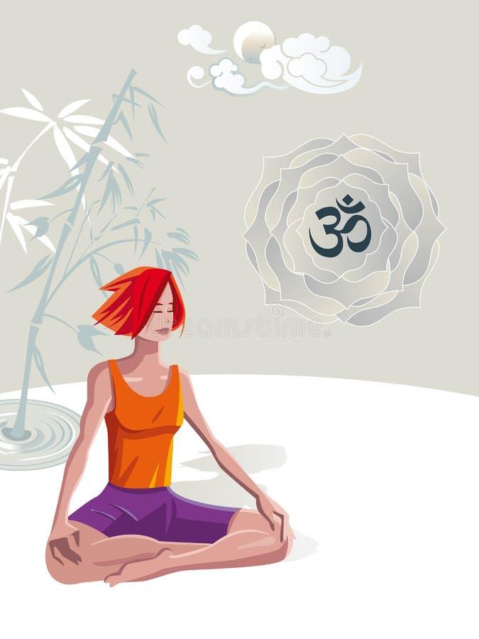 Woman Practicing Yoga Meditation royalty free illustration