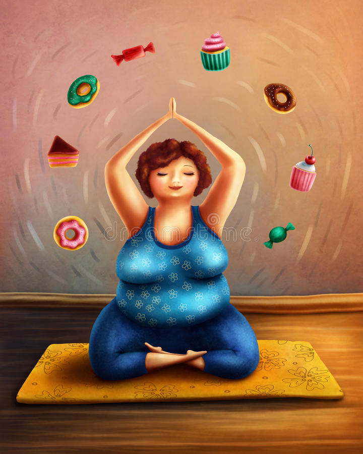 Woman practicing yoga. And thinking of sweets vector illustration