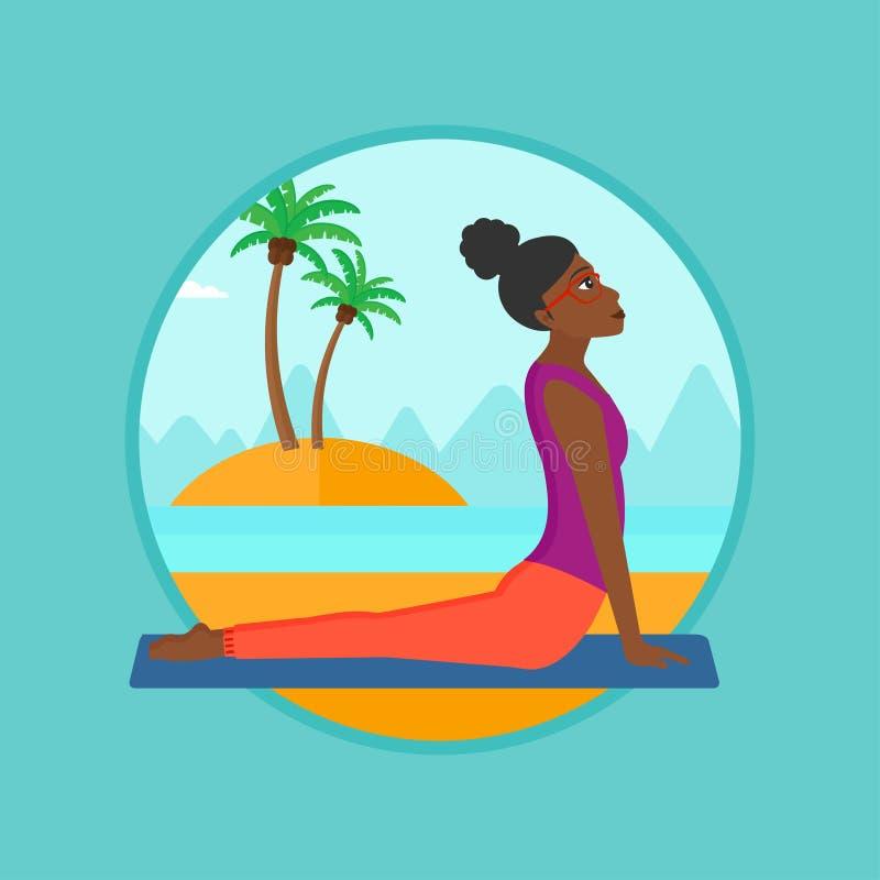 Woman practicing yoga upward dog pose on beach. stock illustration