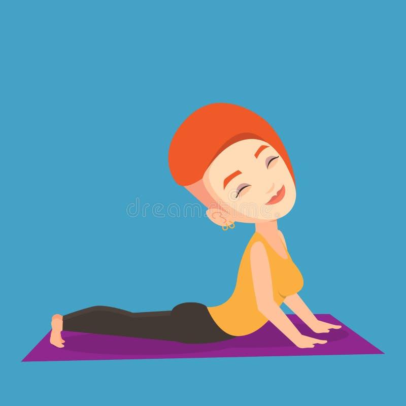 Woman practicing yoga upward dog pose. vector illustration