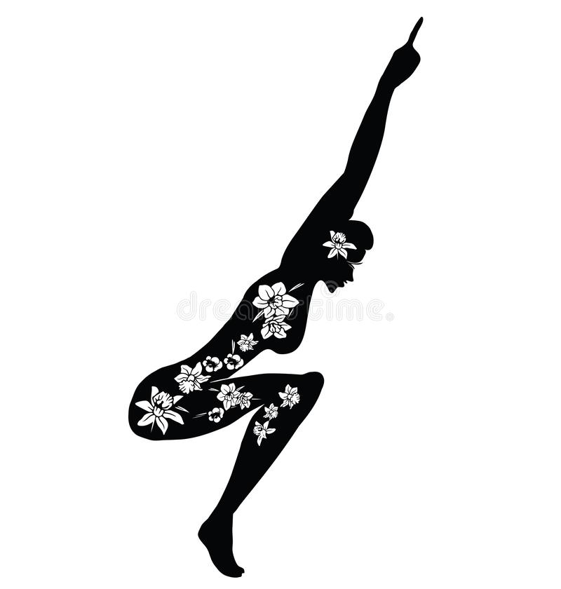 Woman Practicing Yoga. Vector Illustration of a Woman Making Fitness Exercise. Silhouette with flower cut design vector illustration