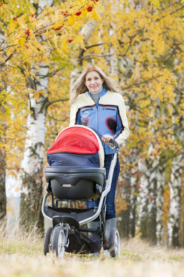 Download Woman with a pram stock image. Image of baby, fall, parent - 27009989