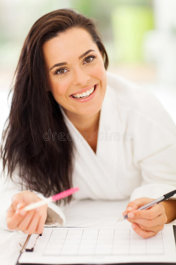 Woman pregnancy calendar royalty free stock photo
